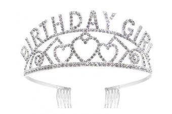 (Sliver_BIRTHDAY GIRL) - Bienvenu Happy Birthday Tiara Girl Glitter Crown Rhinestone Crystal Decor Headband,Sliver_BIRTHDAY GIRL