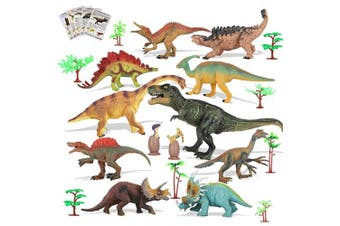 "ARANEE Dinosaur Toys Realistic Looking 7"" (18 cm) 26 Pcs With Trees, Dinosaur Eggs, Learning Cards And Play Mat"