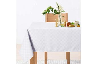 (150cm  x 210cm ,Rectangle/Oblong, White) - CAROMIO Rectangle Tablecloth,Wrinkle and Water Resistance Chequered Decorative Oblong Table Cloth Table Cover for Buffet Table, Parties, Holiday Dinner (Rectangle,150cm x 210cm ,White)
