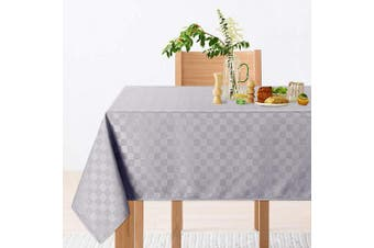 (150cm  x 260cm ,Rectangle/Oblong, Grey) - CAROMIO Rectangle Tablecloth,Chequered Decorative Oblong Table Cloth Table Cover for Dining, Kitchen and Parties, Oil-Proof Spill-Proof and Water Resistance(Rectangle,150cm x 260cm ,Grey)