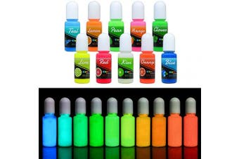 (10 Colours x 10 ml) - Epoxy UV Resin Colour Pigment - Glow In The Dark Liquid Luminous Transparent Epoxy Resin Dye for UV Resin Art Colouring, DIY Jewellery Making - Self Glowing UV Resin Colourant for Paint, Crafts - 10ml Each
