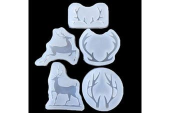 5pcs Christmas elk Jewellery Resin Casting Moulds Silicone Trays Set for Earrings Gems Pendant Keychain Craft DIY Making