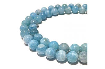 (Ocean Blue Chalcedony (From Malawi, Africa)) - [ABCgems] Extremely Rare Malawi Ocean Blue Chalcedony (Exquisite Inclusions- Beautiful Colour) 10mm Smooth Round Beads for Jewellery Making