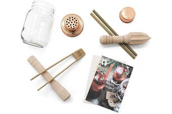 Calm Club Mocktail Shaker Kit - Mixer Set Includes Mason Jar Cocktail Shaker, Juicer, Muddler, Bamboo Tongs, Bamboo Straws and Mocktail Recipe Booklet