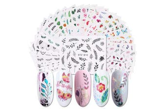 (Multicolor-Flamingo) - Christmas Nail Decals Stickers, 29 Sheets Self-adhesive DIY Nail Art Tips Stencil for Christmas Party, Mixed Christmas elements, including the elderly, snowmen, etc. (Multicolor-Flamingo)