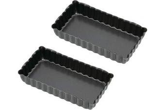 (Rectangular) - KitchenCraft Non-Stick Rectangular Mini Fluted Tart Tins / Quiche Pans, 11 x 6 cm (Set of 2)