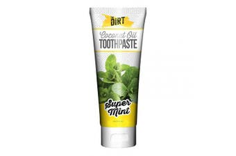 (Super Mint, 150 Gramme) - The Dirt Super Mint Coconut Oil Toothpaste | All Natural with Essential Oils, MCT Oil, Fluoride Free | Super Mint 6 Month Supply