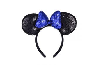 (Black and Blue) - A Miaow 3D Mickey Mouse Sequin Ears Headband Minnie Glitter Hair Clasp Park Supply Girls Kids Adult Photo Accessory (Black and Blue)