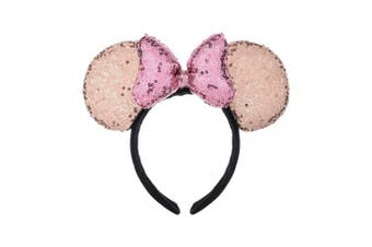 (Champagne and Pink) - A Miaow 3D Mickey Mouse Sequin Ears Headband Minnie Glitter Hair Clasp Park Supply Girls Kids Adult Photo Accessory (Champagne and Pink)
