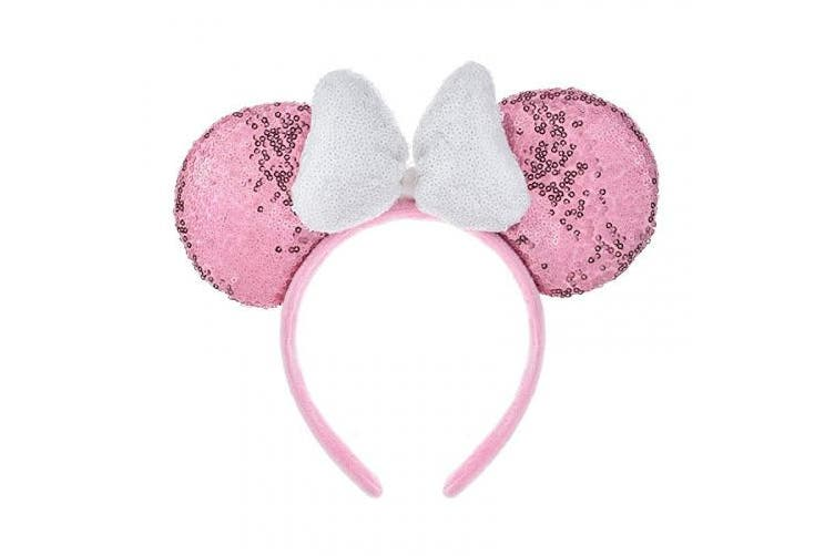 (Pink and White) - A Miaow 3D Mickey Mouse Sequin Ears Headband Minnie Glitter Hair Clasp Park Supply Girls Kids Adult Photo Accessory (Pink and White)
