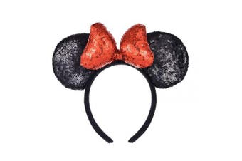 (Black and Red) - A Miaow 3D Mickey Mouse Sequin Ears Headband Minnie Glitter Hair Clasp Park Supply Girls Kids Adult Photo Accessory (Black and Red)