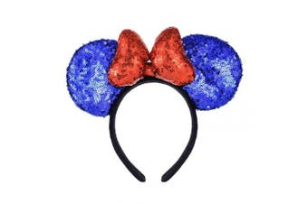 (Blue and Red) - A Miaow 3D Mickey Mouse Sequin Ears Headband Minnie Glitter Hair Clasp Park Supply Girls Kids Adult Photo Accessory (Blue and Red)