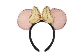 (Champagne and Golden) - A Miaow 3D Mickey Mouse Sequin Ears Headband Minnie Glitter Hair Clasp Park Supply Girls Kids Adult Photo Accessory (Champagne and Golden)