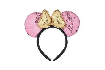 (Pink and Golden) - A Miaow 3D Mickey Mouse Sequin Ears Headband Minnie Glitter Hair Clasp Park Supply Girls Kids Adult Photo Accessory (Pink and Golden)