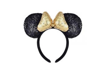 (Black and Golden) - A Miaow 3D Mickey Mouse Sequin Ears Headband Minnie Glitter Hair Clasp Park Supply Girls Kids Adult Photo Accessory (Black and Golden)