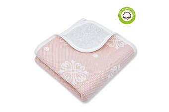 (100cm  x 100cm , Pink Snow) - Organic Cotton Patterned Baby Crib Blanket for All Seasons - Warm, Breathable, Super Soft, Thick and Light Weight Quilted Toddler Blanket for Boys and Girls 100cm x 100cm Large - Pink Snow