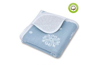 (100cm  x 100cm , Blue Snow) - Organic Cotton Patterned Baby Crib Blanket for All Seasons - Warm, Breathable, Super Soft, Thick and Light Weight Quilted Toddler Blanket for Boys and Girls 100cm x 100cm Large - Blue Snow