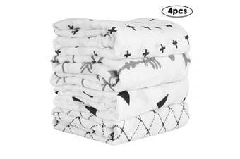 Yinuoday 4pcs/lot Muslin Baby Swaddle Blankets Newborn Receiving Blankets Wrap for Boys Girls 120cm x 120cm