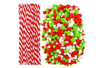Cooraby 1000 Pieces Christmas Pompoms Assorted Size and Colour Pom Poms with 100 Pieces Striped Chenille Stems Pipe Cleaners for Craft Supplies (Christmas Colour)