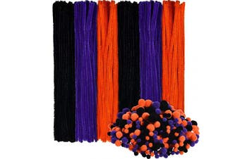 150 Pieces Halloween Pipe Cleaners Chenille Stems and 500 Pieces Pom Poms for Halloween Craft Party Supplies