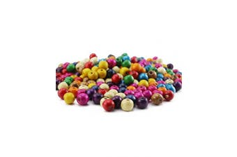 BcPowr 250 PCS Assorted Colour Round Wood Beads,Large Hole Round Wood Spacer Beads for DIY Project, Wooden Spacer Beads