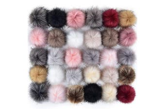 (Popular Mix Colors) - Coopay 30 Pieces Faux Fox Fur Pom Pom Balls DIY Fur Fluffy Pom Pom with Elastic Loop for Hats Keychains Scarves Gloves Bags Charms Knitting Accessories (Popular Mix Colours)