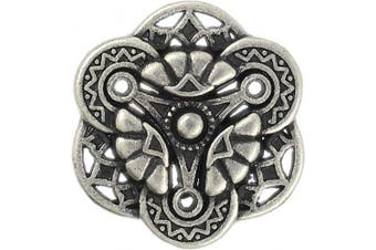 (Antique Silver) - Bezelry 12 Pieces Gothic Flower Art Metal Shank Buttons 18mm (11/16 inch) (Antique Silver)