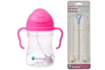 (Pink) - B. Box Essential Sippy Cup - with Replacement Straws and Cleaner (Pink)