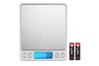 (3kg/0.1g, Silver) - Brifit Digital Kitchen Scales, (3kg, 0.1g) Mini Food Scales, Electric Cooking Scales with 2 Trays, Back-Lit LCD Display, Tare and PCS Features, for Ingredients, Jewellery, Coffee, Chiristmas Gift