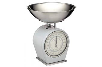 (French Grey) - KitchenCraft Living Nostalgia Mechanical Kitchen Scales, 4 kg (8 lbs) - French Grey