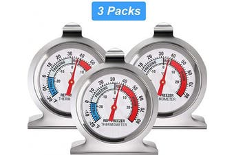 (3) - Refrigerator Freezer Thermometer Classic Series Large Dial Thermometer Temperature Thermometer for Refrigerator Freezer Fridge Cooler (3)