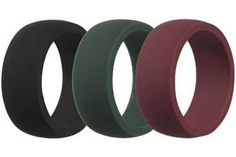 (9.5 - 10 (19.8mm), Dark Olive Green, Wine-red, Black) - CEDAR BRIGHT Silicone Wedding Ring for Men, Breathable, Multiple Technique, Comfortable Durable Sports Ring Replacement