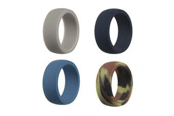 (9.5 - 10 (19.8mm), Gray, Sky Blue, Navy Blue, Camo) - CEDAR BRIGHT Silicone Wedding Ring for Men, Breathable, Multiple Technique, Comfortable Durable Sports Ring Replacement