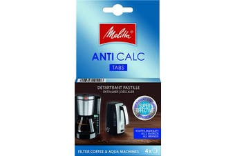 (Tabs) - Melitta Anti Calc Decalcifier Tablets, For Filter Coffee Machines and Kettles, 4 x 12 g