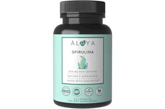 Alaya Naturals - Pure Spirulina Capsules - Made with Earthrise Spirulina, Blue Green Algae Superfood - Non-GMO & Vegan - 500 mg, 90 Capsules