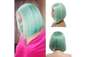 Short Bob Wigs Brazilian Remy Hair Straight 13x 4 Lace Front Wig for Black Women Thick 150% Density Pre Plucked Mint Green Middle Part Lace Wigs with Baby Hair 25cm