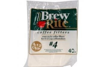 Brew Rite Coffee filters, No. 4, Cone Style, 8-12 Cup - 40 filters