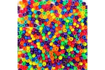 (Vivid Neon Bold Multicolor Mix) - Vivid Neon Bold Multicolor Mix Plastic Craft Pony Beads, 6 x 9mm, 1000 Beads