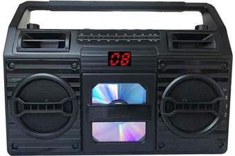 (Retro Black) - Sylvania Portable Retro Bluetooth Cd, Am/FM Radio Boombox, 20 Track Programmable Memory
