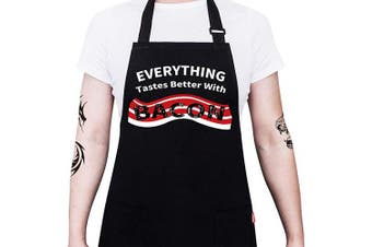 (Black22) - ALIPOBO Cooking Apron - Everything Tastes Better with Bacon- Funny Aprons for Men Women Chef, Adjustable Bib Apron with 2 Pockets and 100cm Long Ties, Perfect for Grilling, BBQ, Baking - Black