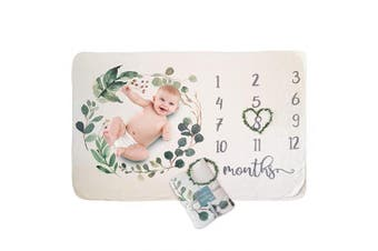Frolickly Baby Milestone Blanket - Large Size 100cm x 150cm - Soft Minky Fleece - Gender Neutral Watercolour