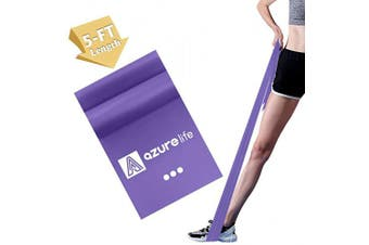 (Purple—Single Band (Heavy Resistance Level)) - A AZURELIFE Professional Resistance Bands, 3 Different Strengths of Exercise Bands, 1.5m Long Latex Free Elastic Stretch Bands for Physical Therapy, Yoga, Pilates, Rehab, Home Workout