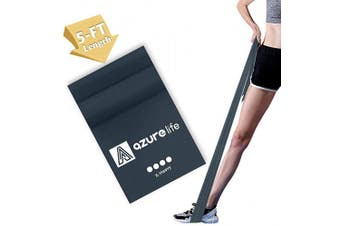 (Gray—Single Band (X-Heavy Resistance Level)) - A AZURELIFE Professional Resistance Bands, 3 Different Strengths of Exercise Bands, 1.5m Long Latex Free Elastic Stretch Bands for Physical Therapy, Yoga, Pilates, Rehab, Home Workout