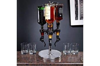 (Stainless Steel) - Oggi Professional 3-Bottle Revolving Liquor Dispenser