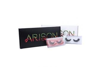 (Black) - Arison Lashes 3D False Eyelashes Fake Eyelashes Multipack 8 Different Types Combination Gift Box for Make Up (Black)