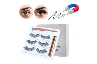 (013) - Magnetic Eyelashes with Magnetic Liquid Eyeliners Kit Magnetic False Lashes 3 Pair with Tweezers Easy to Wear Natural for Make Up (013)