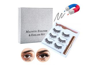 (010) - Magnetic Eyelashes with Magnetic Liquid Eyeliners Kit Magnetic False Lashes 3 Pair with Tweezers Easy to Wear Natural for Make Up (010)