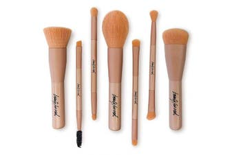 Beauty For Real Cruelty-Free Makeup Brushes Set, Matte Pink, 7 piece set, 130ml