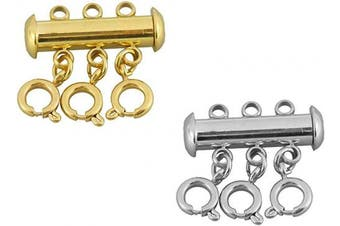 (mix2) - 2 Pcs 316 Stainless Steel Necklace Spacer Layering Clasps Multistrand Clasp for Layered Bracelet Necklace Jewellery Crafts (3 Strand,Gold & Stainless Steel)