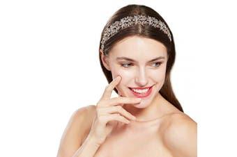 (Rose Gold) - ArtiDeco Crystal Wedding Headpiece Bridal Hair Vine Hair Accesories for Wedding Bridemaid Headband Crystal Floral Leaf Headband (Rose Gold)